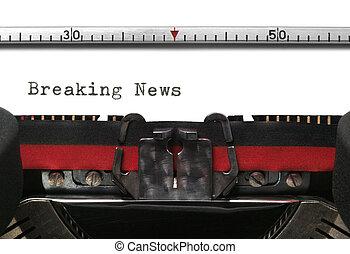 nieuws, verbreking, typemachine