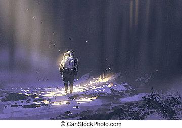 nieve, astronauta, solamente, ambulante