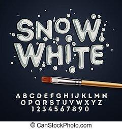 nieve blanco, alfabeto, y, números