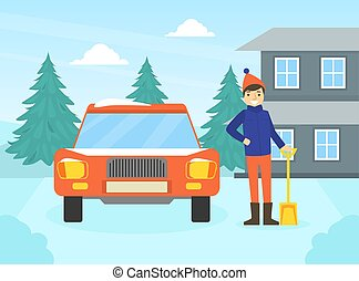 nieve, coche, el suyo, actividad, concepto, limpieza, vector...