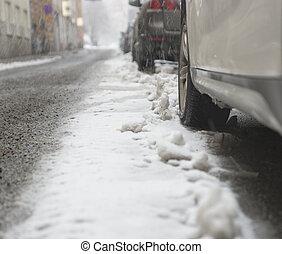 nieve, coche, estacionado, tormenta