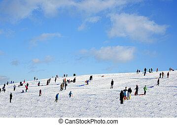 nieve, colina, en, diciembre, holiday.