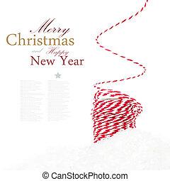 nieve, composición, brillante, decoraciones, navidad, cinta