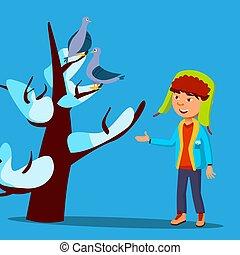 nieve -covered, invierno, sentado, cima, árbol, arriba, ilustración, aislado, miradas, vector., niño, pájaro, ropa
