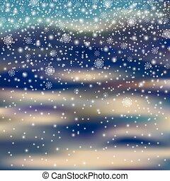 nieve, decoración, snowflak, plano de fondo, blured, caer, navidad