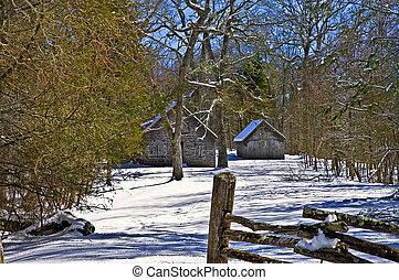 nieve, edificios, vendimia, invierno