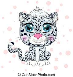 nieve leopardo, lindo, caricatura, animales, eyes., expresivo, infantil, carácter, style., salvaje