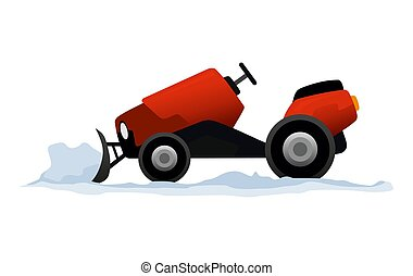 nieve, limpia, fondo., tractor, aislado, blanco, transporte, equipo, mini, camino, snowblower, arado, snow., works.