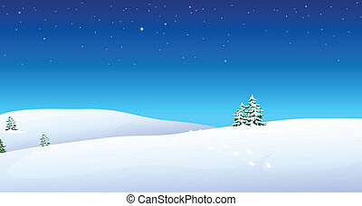 nieve, montaña, huellas, encima
