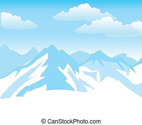 nieve, montañas