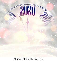 nieve, nuevo, tarjeta, 2020, reloj, blizzard., brillante, ...