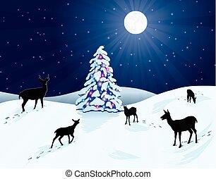 nieve, venado, y, árbol de navidad