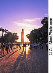 niezidentyfikowany, październik, ludzie, -, chód, marrakesh...