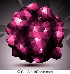 niezwykły, ilustracja, abstrakcyjny, forma., object., wektor, perspektywa, origami, geometryczny, technologia, 3d