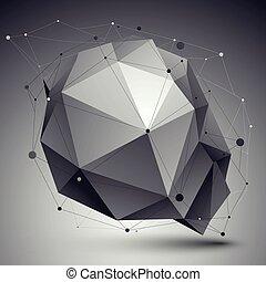 niezwykły, ilustracja, abstrakcyjny, wireframe., wektor, tech, perspektywa, tło, geometryczny, 3d
