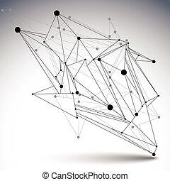 niezwykły, ilustracja, asymetryczny, abstrakcyjny, wireframe, object., wektor, perspektywa, geometryczny, technologia, 3d