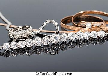 niezwykły, jewerly, łańcuch, elegancki, złoty, srebro
