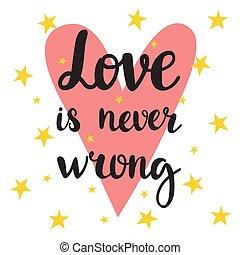 nigdy, miłość, afisz, motivational, quote., wrong., ręka, inspiracyjny, pociągnięty, lettering.