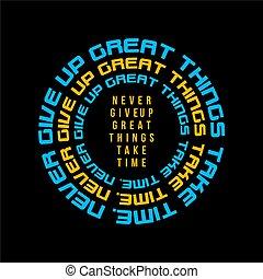 nigdy, typografia, dawać, do góry, -