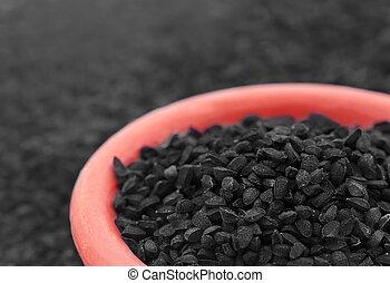 Nigella or Black cumin in a bowl
