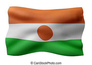 3d rendering of a national Niger flag isolated on white background