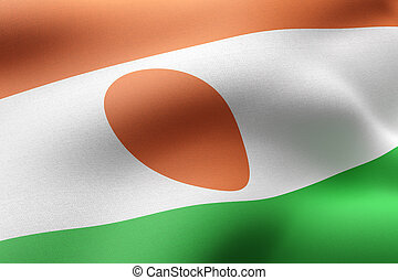 3d rendering of a textured national Niger flag.