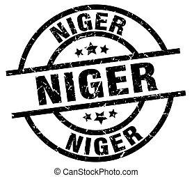 Niger black round grunge stamp