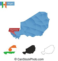 Niger blue Low Poly map with capital Niamey. - Niger blue...