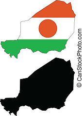 niger - vector map and flag of Niger with white background....