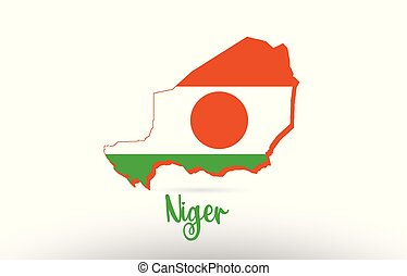 Niger country flag inside map contour design icon logo
