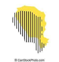 Niger - yellow country silhouette with shifted black stripes. Memphis Milano style design. Slimple flat vector map.