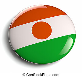 Niger flag design round badge.