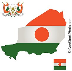 Niger Flag - Flag and coat of arms of the Republic of Niger...
