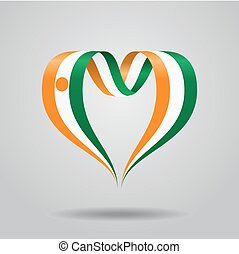 Niger flag heart-shaped ribbon. Vector illustration. - Niger...