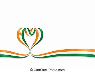 Niger flag heart-shaped ribbon. Vector illustration. - Niger...