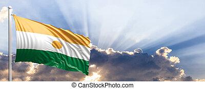 Niger flag on blue sky. 3d illustration - Niger waving flag...