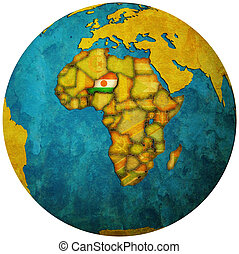 niger flag on globe map - niger territory with flag on map...