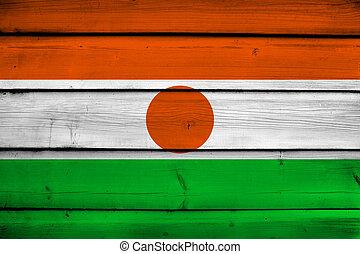 Niger Flag on wood background