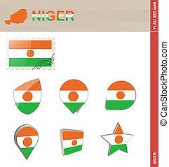 Niger Flag Set, Flag Set #69. Vector.
