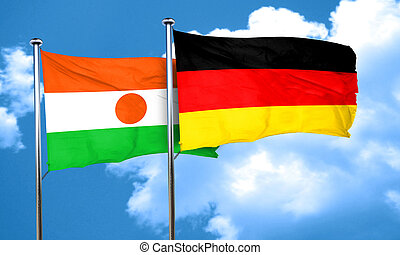 niger flag with Germany flag, 3D rendering