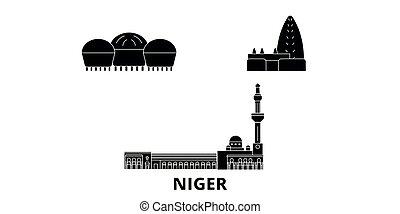 Niger flat travel skyline set. Niger black city vector...