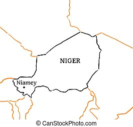 Niger hand-drawn sketch map - Niger country with its capital...