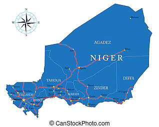 Highly detailed vector map of Niger with administrative regions, main cities and roads.