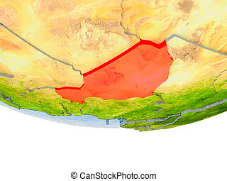 Niger in red on Earth model
