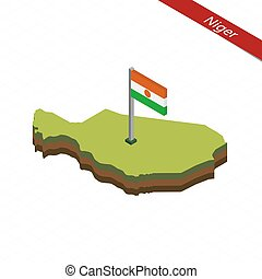 Niger Isometric map and flag. Vector Illustration. -...