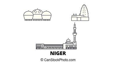 Niger line travel skyline set. Niger outline city vector...