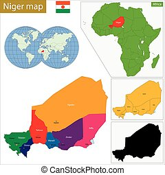 Niger map - Administrative division of the Republic of Niger