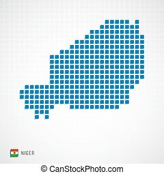 Niger map and flag icon - Vector illustration of Niger map...