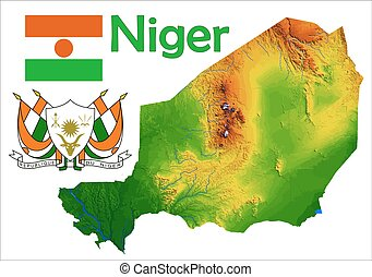 Niger map Administrative division of the republic of niger clipart