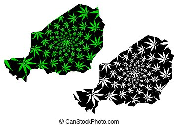 Niger - map is designed cannabis leaf green and black,...